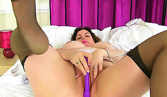 english milf vintage fox looks sexy in a stewardess outfit