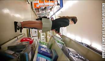 schoolgirl in supermarket