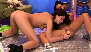 teen d by teacher and brunette twin chums sisters hairy kim