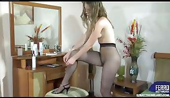 leggy secretary changes into her office outfit with sheertowaist tights