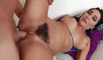 hairy pussy of sexy brunette whore is perfect for penetration