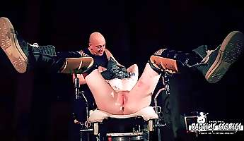 ugly tattooed bitch with shaved head is punished and dominated