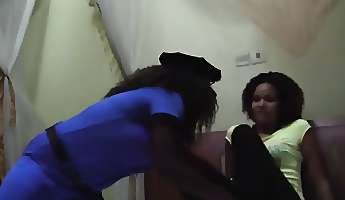 a very nasty ebony police woman comes to her lesbian friend