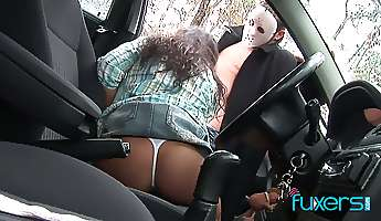 kinky beauty gets watched and mouthfucked by masked dude in the woods